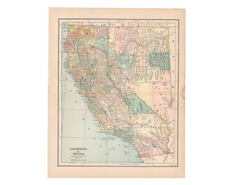 Original Antique Color Map Of California And Nevada From 1887 Encyclopedia Free Us Shipping