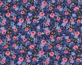 Painted Roses in Navy,  Rifle Paper Company,  Cotton and Steel,  1 yard