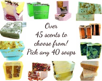 SOAP -40 very unique assorted vegan handmade soaps. Great for gifts, weddings, favors, corporate gifts.