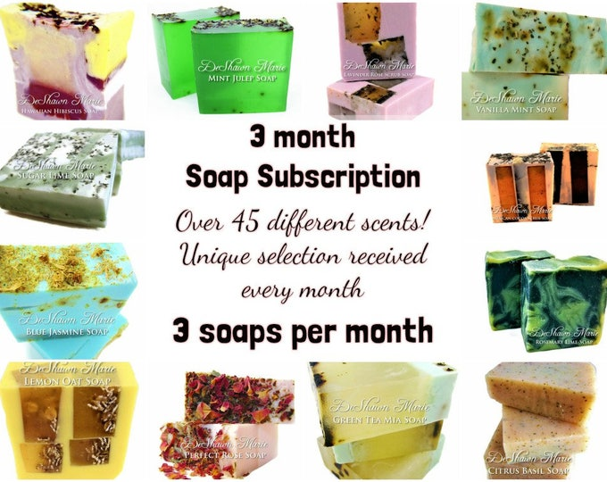 3 Soap - 3 Month Handmade Soap Club Subscription- Christmas Gift, Birthday Gift, Mother's Day Gift