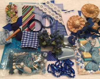 Blue Inspiration Kit, Grab Bag, Craft Supplies, Mixed Media, D.I.Y Kit, Findings, Scrapbook, Embellishments, Visual Art Kit