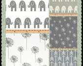 CUSTOM-Made Valances Panels Tiers Swags ~You Choose Size ~ Lined or Unlined ~ Rod pocket or grommets -Gray White elephants dandelions arrows