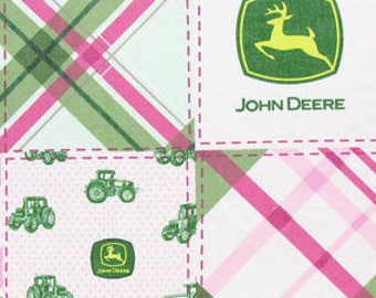 CUSTOM-Made Valances,Panels,Tiers. ~You Choose Size ~ Lined or Unlined ~ Rod pocket or grommets - John Deere tractors pink green plaid
