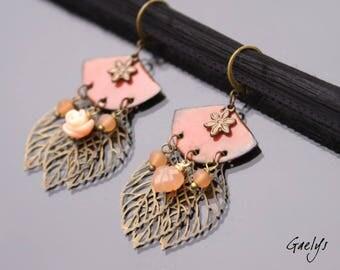 Carved - boucles d'oreille cuivre émaillé, laiton et pierre engravée - Style Bohême - bo gaelys