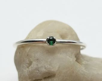 Tiny Emerald Ring in Sterling Silver