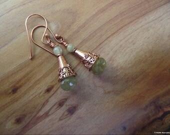 Ancient Days Copper & Grossular Green Garnet Earrings
