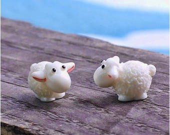 Miniature Sheep Figurines for Fairy Garden collectibles hobby two 2 pcs