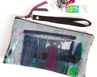 UPCYCLED Denim Clutch. Abstract Hand Painted Purse. Puprle Leather Bag. Denim Bag. Recycled Leather & Jean. Artist Palette.