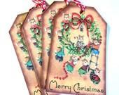 8  Christmas Gift Tags Hang Tags Note Tags Wreath and Christmas Mice  Merry Christmas