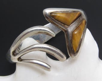 Sterling Clamper Bracelet Fishtail Tiger Eye Boho Jewelry B5431
