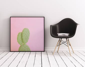 Cactus Print, Botanical Art, Gift for Gardener, Pink Wall Art - Pink Cactus