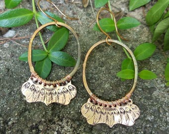 Copper Feather Stamped Earrings, Hand Stamped Hoops