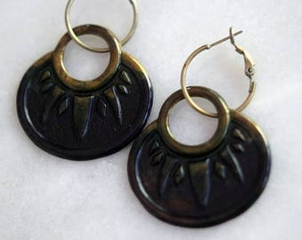 De-Stash Sale Ombre Navy Blue and Dark Bronze Patina Earrings, Bohemian Dangles, Brass Hoops, Distressed, Summer Jewelry