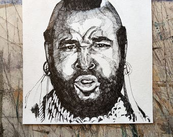 Hand drawn portrait of Mr. T - unframed