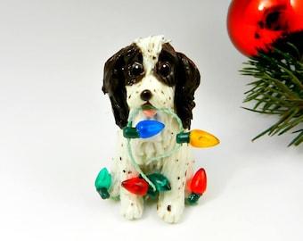 Springer Spaniel Liver Christmas Ornament Figurine Lights Porcelain