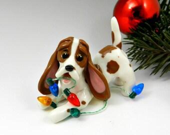 Basset Hound Dog Tricolor Christmas Ornament Figurine Lights Porcelain
