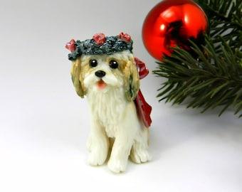 Cavachon Christmas Ornament Figurine with Wreath Porcelain
