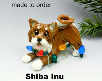 Shiba Inu Made to Order Christmas Ornament Figurine in Porcelain