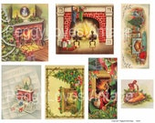 Fireplaces 2 Digital Collage from Vintage Christmas Greeting Cards -  Instant Download - Cut Outs