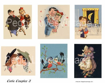 Cutie Couples 3 Digital Collage from Vintage Greeting Cards - Instant Download - Cut Outs
