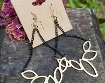 Brass leaf dangle earrings