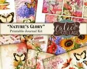Journal Kit, Nature's Glory, Junk Journal, Printable Journal, Ephemera Pack, Flowers, Garden Ephemera, Journaling Spots, Printable Kit