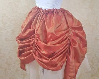 SUMMER SALE BLACK Friday Sale Orange Red Shot Mini Length Tie Bustle Skirt-One Size Fits All