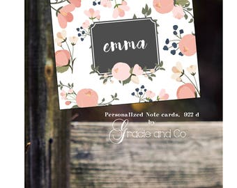 Personalized custom stationery  notecards thank you notes birthday gifts pink green flowers black center box with name