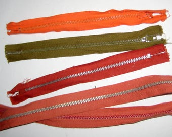 4 Vintage Zippers for Crafting