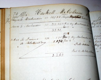 Antique (1851) Handwritten Ledger - 261 pages of Entries plus Blank Pages