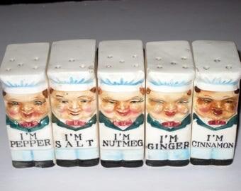 5 Vintage Porcelain Spice Salt and Pepper Shakers - Chefs