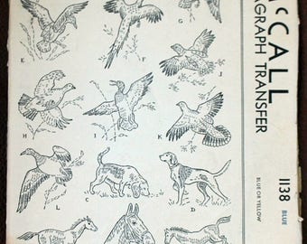 SAVE - ON SALE 1940s Kaumagraph transfer from McCall #1138; Sports motifs for linens; Rare vintage transfers.