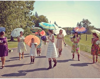 Wedding Quintet - Bridesmaids - 5 floral tea dresses - Autumn Flowers