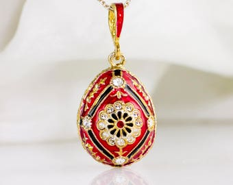 Jewelry Necklace Enamel Jewelry Egg Pendant Queen Daisy Red Black Pendant Sterling Silver 24K Gold Gift For Her Unique Gift for  Mom