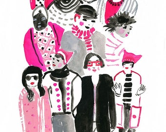 Pink Crowds Archival Print