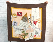 vintage Moschino silk scarf / Italian large square silk scarf / good old times traveler scarf