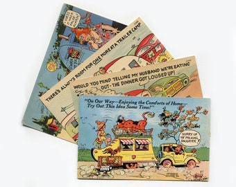 1940s Trailer Camp Humor Post Cards Linen Unused Postcards Set Of 4 Park Vintage RV