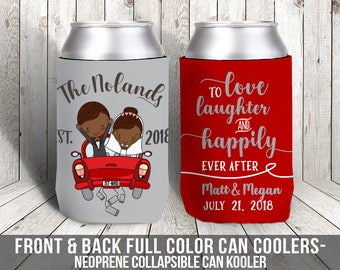 just married beverage insulator wedding favors personalized newlywed couple wedding can coolies love laughter and happily ever after MCC-026