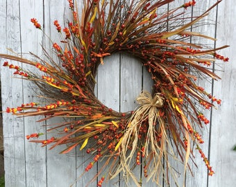 Fall Wreath for Door, Dried Fall Wreath, Bittersweet Wreath, Country Fall Door Wreath, Rustic Fall Wreath