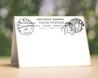 Wedding Place Cards Vintage Style French Postmark Postcard Tent Style Wedding Place Cards or Table Place Cards #615