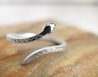 Snake wrap ring in solid sterling silver thin stacking bypass adjustable serpent textured band