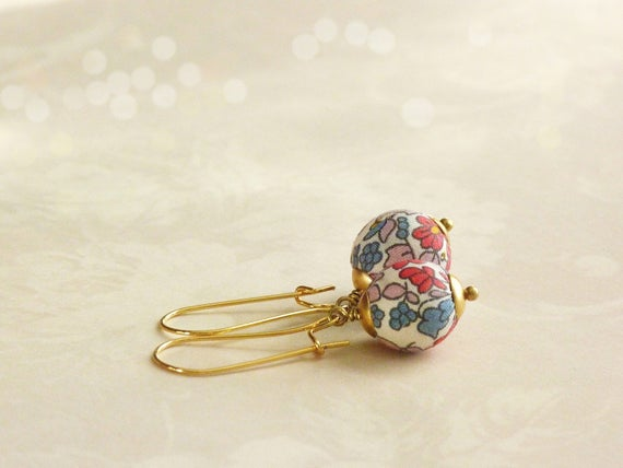 Liberty earrings,Cute earrings,Colorful earrings,Spring earrings,Flower earrings,Liberty jewelry,Spring trends,Gift under 30, Small gift