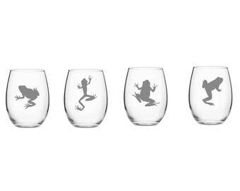 Set of 2 or 4 Frog Wine Glasses,4 Frog Pose,Custom Etched Frog Wine Glass,Frog Lover,Frog Barware,Amphibian Wine Glasses,Etched Wine Glasses