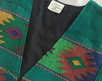 Vintage Hand Made Guatemala Colorful Woven Cotton Vest
