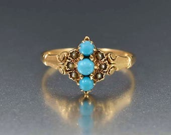 Antique Gold Turquoise Ring | 14K Gold Victorian Turquoise Pearl Ring | Engagement Promise Anniversary Ring | Antique Ring | Blue Stone