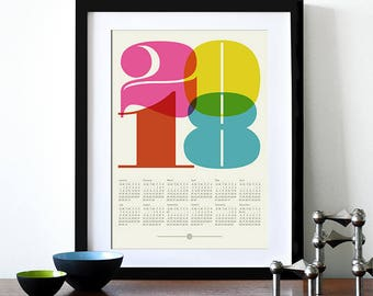 2018 calendar poster, retro kitchen art, mid century modern, office art print, Eames era, typography poster, graphic design, A3 wall decor