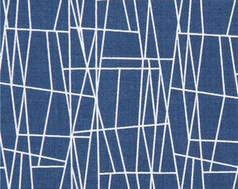 215809 dark blue Michael Miller fabric white line assorted shape Atomic Web