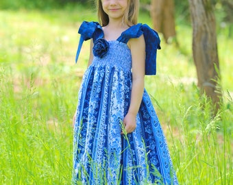 Summer Maxi Dress - Baby Girls - Toddlers - Sleeveless - Beach - Blue - Long Boho Dress - Ruffle - Cotton Dresses - Boutique  12 mo to 8 yrs