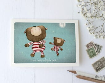 """greeting card - card - bear - woodland creatures - moon - star - birthday -  celebrate - wishes - """"Dance by the Light of the Moon!"""""""