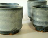 Sake cups or small tea cups, beautiful deep blue and white glaze on stoneware cups